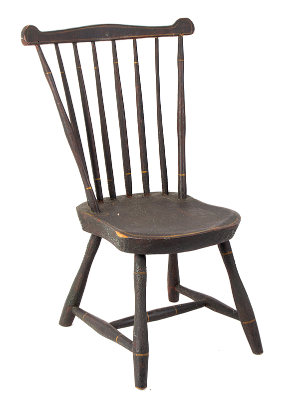 19th Century Youths Windsor Fan-Back Side Chair, Historic Surface New England, circa 1810 Seat carved of Northeastern white pine, early brown over green over red paint, entire view 2