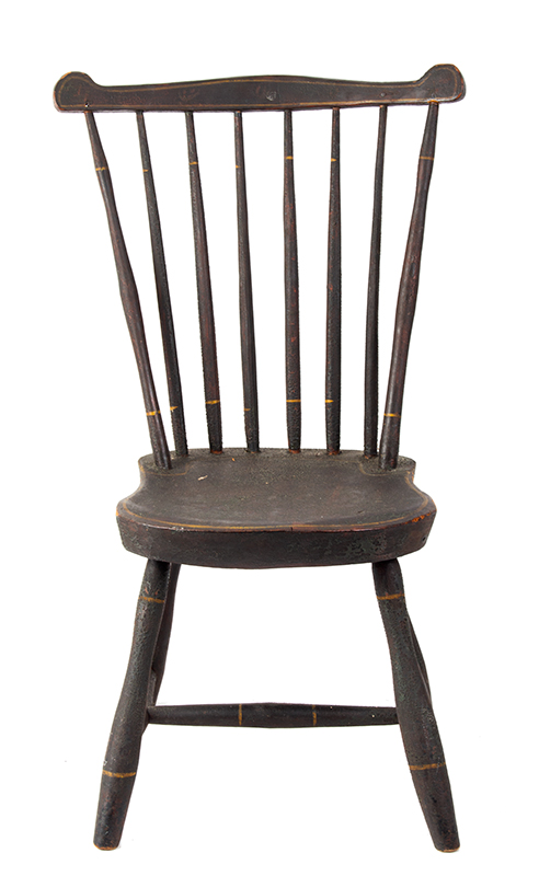 19th Century Youths Windsor Fan-Back Side Chair, Historic Surface New England, circa 1810 Seat carved of Northeastern white pine, early brown over green over red paint, entire view 3