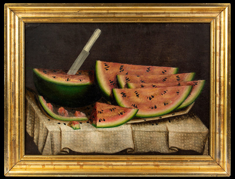 Folk Art, Still Life with Watermelon on Ironstone Platter on White Cloth Attributed to Daniel McDowell, Knox County, Ohio, circa 1860-1880 Oil on canvas, dusting of mica on watermelons, entire view