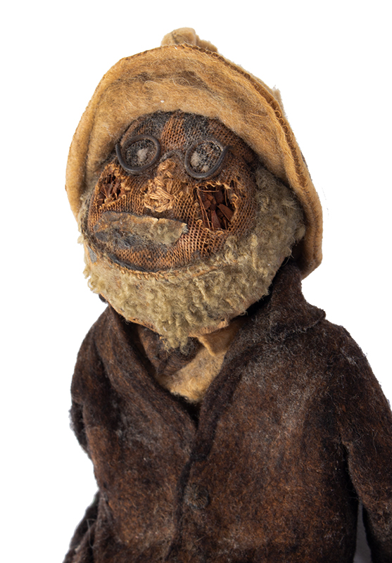 Folk Art Doll, Man Wearing Spectacles Carrying newspaper Anonymous, Early 20th Century A loveable battered beauty!, entire view 3