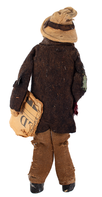 Folk Art Doll, Man Wearing Spectacles Carrying newspaper Anonymous, Early 20th Century A loveable battered beauty!, entire view 4