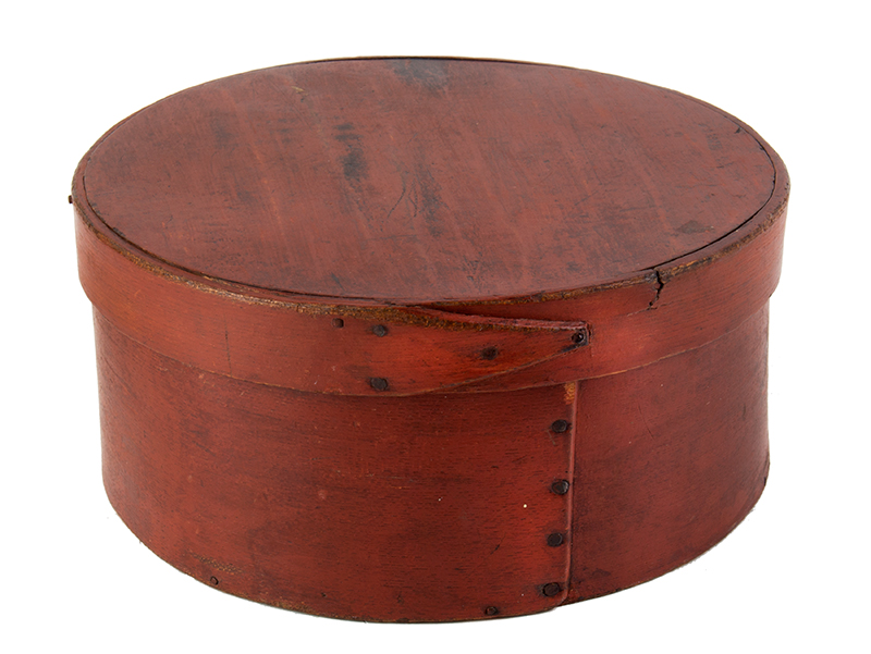 19th Century Round Bentwood Pantry Box, Original Paint New England Maple sides, pine top and bottom, lid features tapered finger, tack & peg joinery, entire view 1