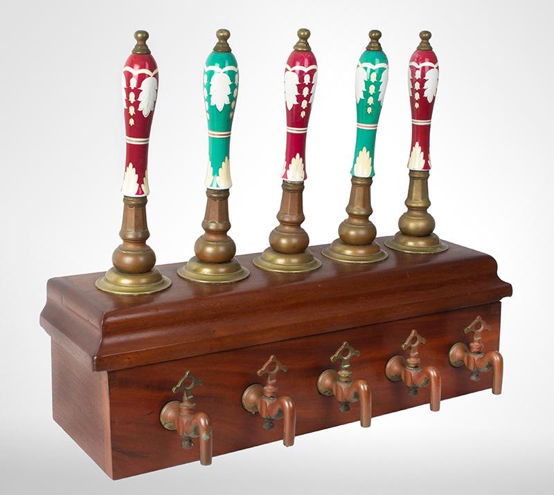 19th Century Beer Engine, 5 Porcelain Taps & Brass Spiggots, entire view 1