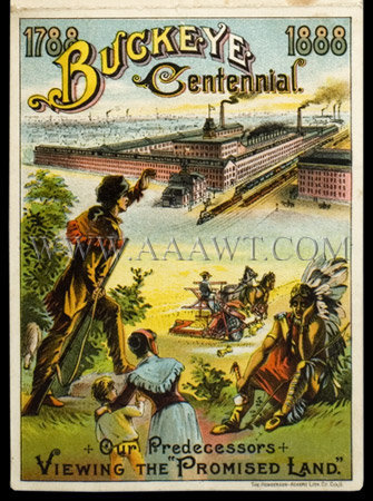 Buckeye Centennial Folding Trade Card With Harrison & Cleveland Dated 1888, entire view