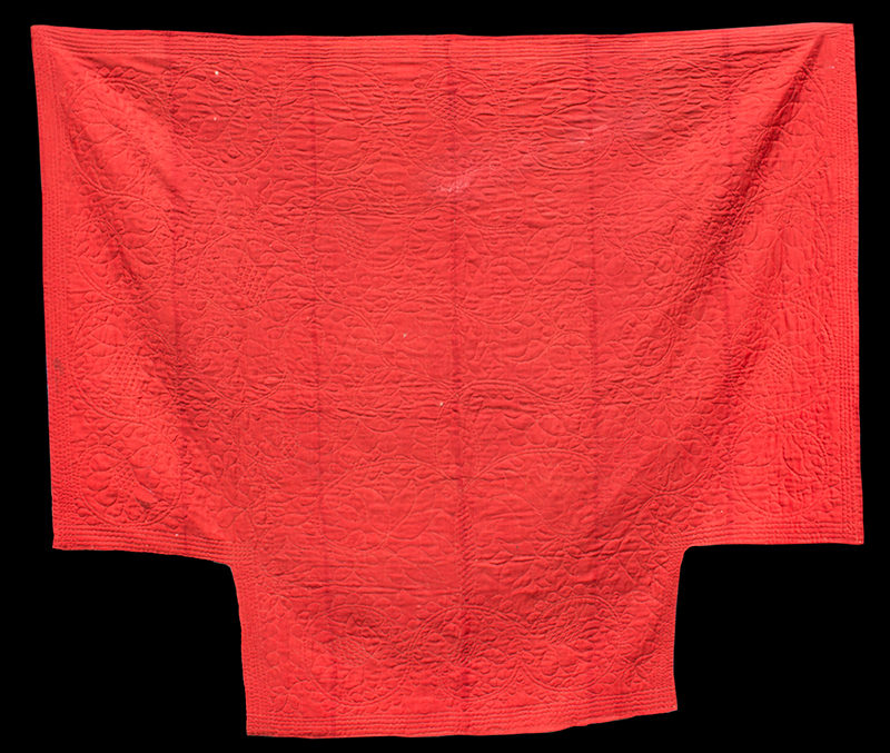 Red Linsey Woolsey Quilted Coverlet, 18th/Early 19th Century, New England, entire view