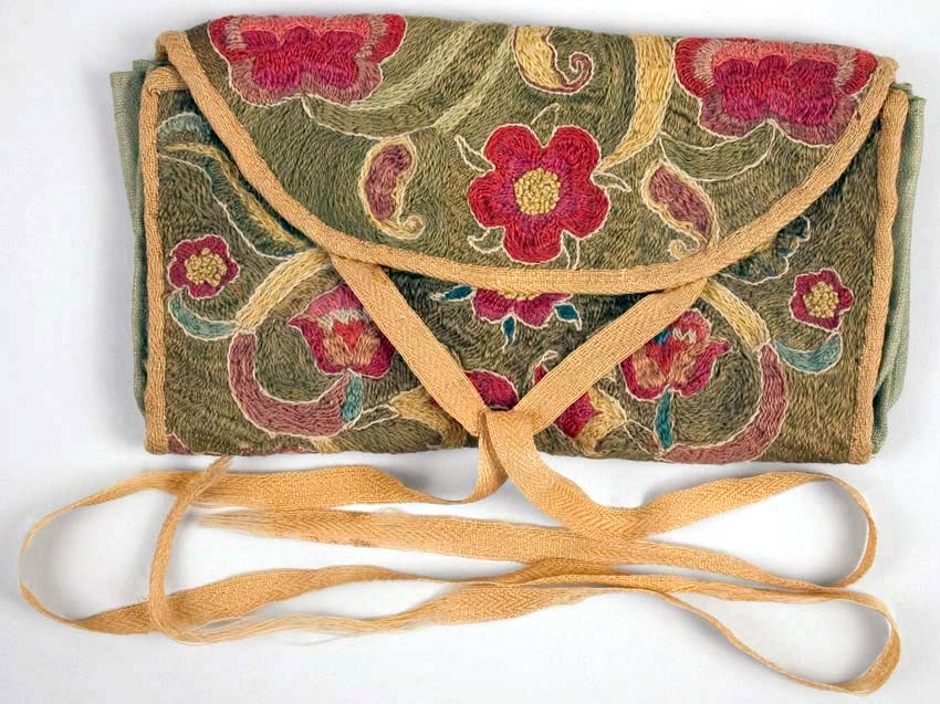 Wallet, Gentleman's Embroidered Purse, and Portrait of Owners Homeheorem Decorated Bed Furnishing or Curtin Sash, Watercolor on Brushed Cotton