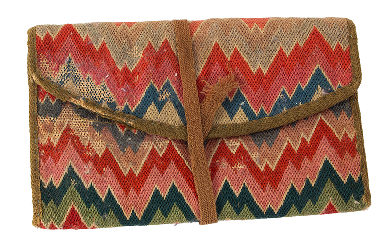 18th Century Flame Stitch Purse, Needlework Pocketbook  Circa 1750-1800, entire view 1