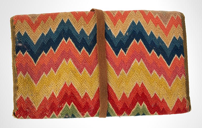 18th Century Flame Stitch Purse, Needlework Pocketbook  Circa 1750-1800, entire view 2