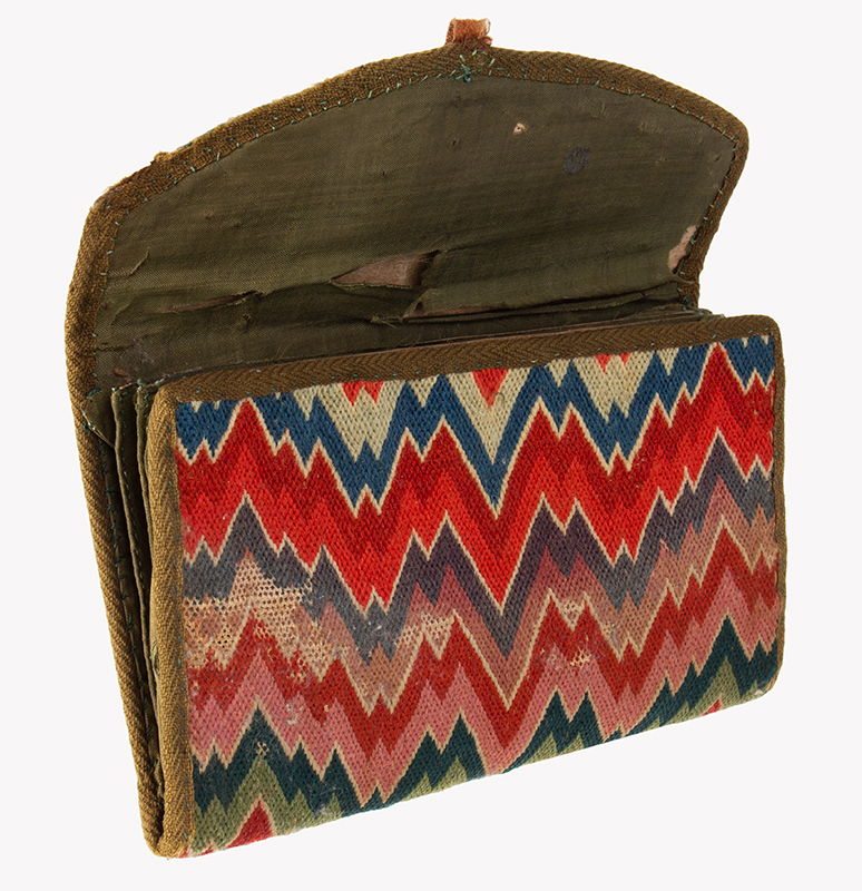 18th Century Flame Stitch Purse, Needlework Pocketbook  Circa 1750-1800, entire view 3