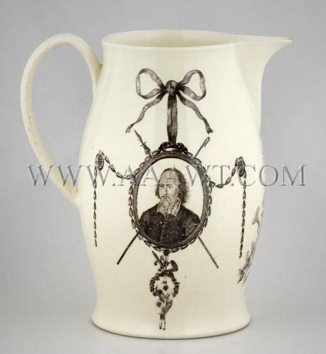 William Shakespeare and David Garrick Portrait Creamware Jug c. 1780, entire view