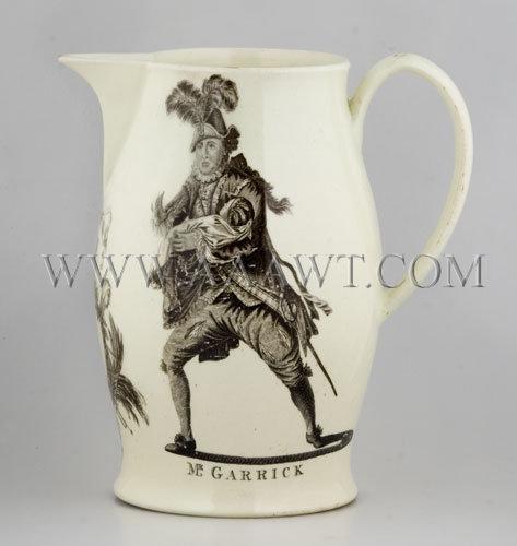 William Shakespeare and David Garrick Portrait Creamware Jug c. 1780, entire view 3