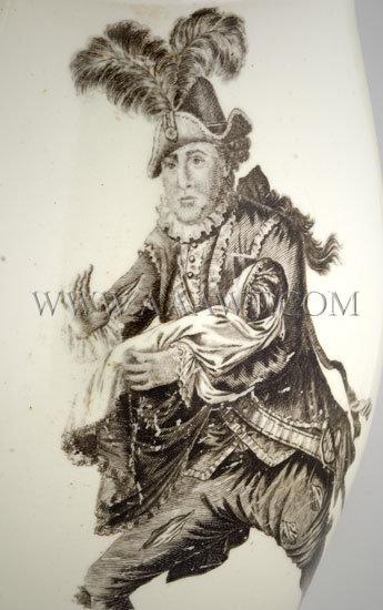 William Shakespeare and David Garrick Portrait Creamware Jug c. 1780, artwork detail 2