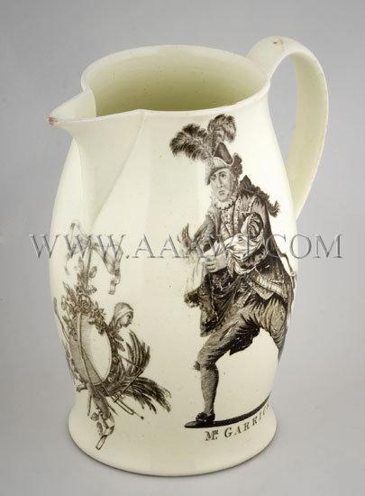 William Shakespeare and David Garrick Portrait Creamware Jug c. 1780, entire view 2