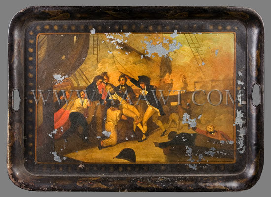 Painted Tin Tray Death of Admiral Nelson