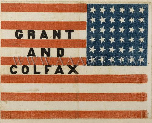 Grant and Colfax    Near mint...    Campaign Flag    Circa 1868, entire view