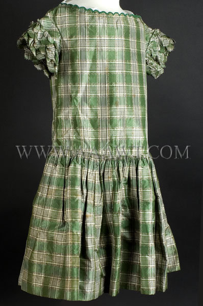 Antique Dress, Girl's Dress, Green Plaid Silk, angle view