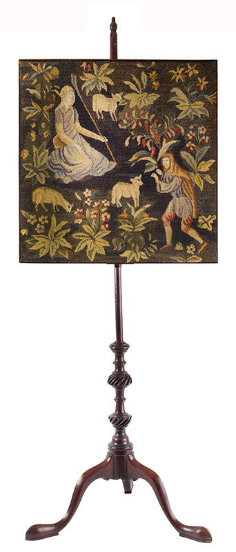 18th Century Fire Screen, Carved Pole Screen, Needlework Panel Possibly American, circa 1770 Entirely mahogany, entire view