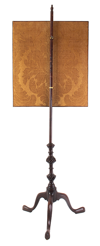 18th Century Fire Screen, Carved Pole Screen, Needlework Panel Possibly American, circa 1770 Entirely mahogany, back view
