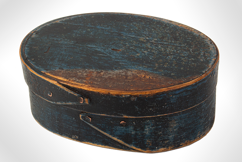 Oval Spice Box, Original Blue Paint Likely Hingham, 19th Century Tack & Peg Construction, Maple & Pine, entire view 1
