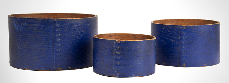 Antique Bentwood Dry Grain Measures, Original Blue Paint, Maker Signed Impressed mark