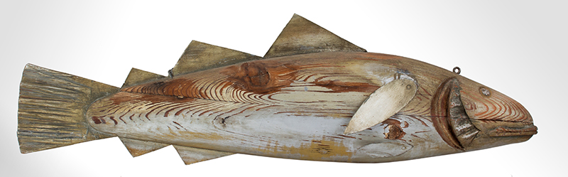 Fishmongers Codfish Trade Sign, Carved & Painted  Anonymous, circa 1900 Pine, tinned sheet iron and paint, entire view 1