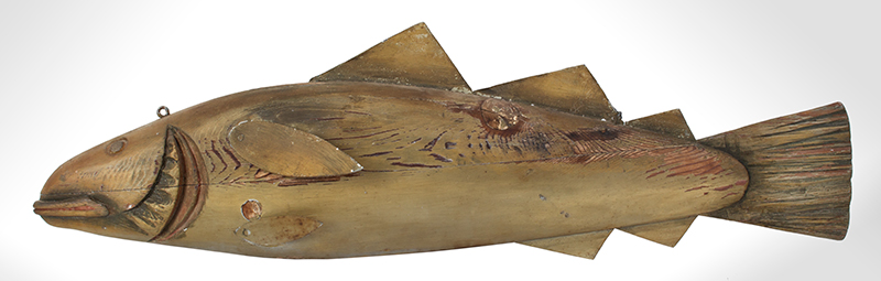 Fishmongers Codfish Trade Sign, Carved & Painted  Anonymous, circa 1900 Pine, tinned sheet iron and paint, entire view 2