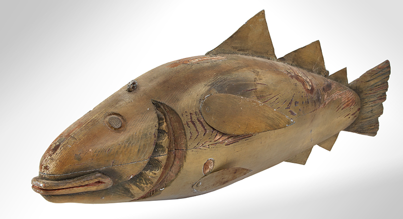 Fishmongers Codfish Trade Sign, Carved & Painted  Anonymous, circa 1900 Pine, tinned sheet iron and paint, entire view 3