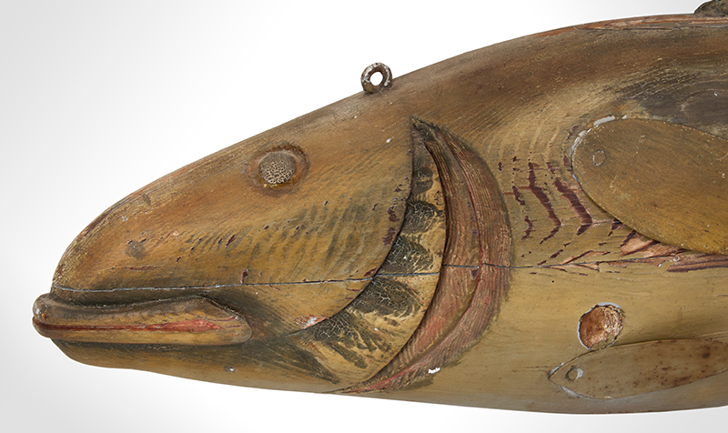 Fishmongers Codfish Trade Sign, Carved & Painted  Anonymous, circa 1900 Pine, tinned sheet iron and paint, detail view
