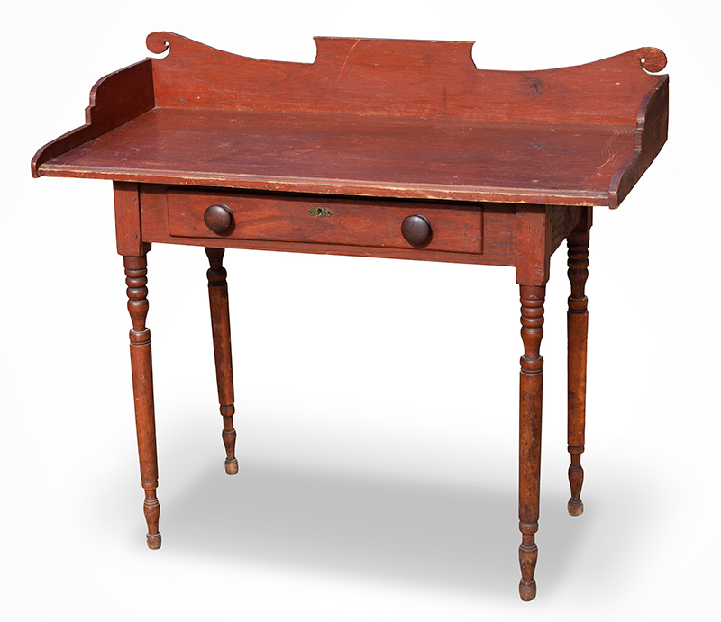 19th Century Server, Country Table, Original Paint  New England, likely Vermont, circa 1825-1840 Maple, basswood, and white pine, entire view 1