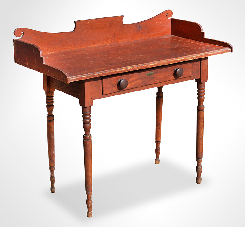 19th Century Server, Country Table, Original Paint  New England, likely Vermont, circa 1825-1840 Maple, basswood, and white pine, entire view 2