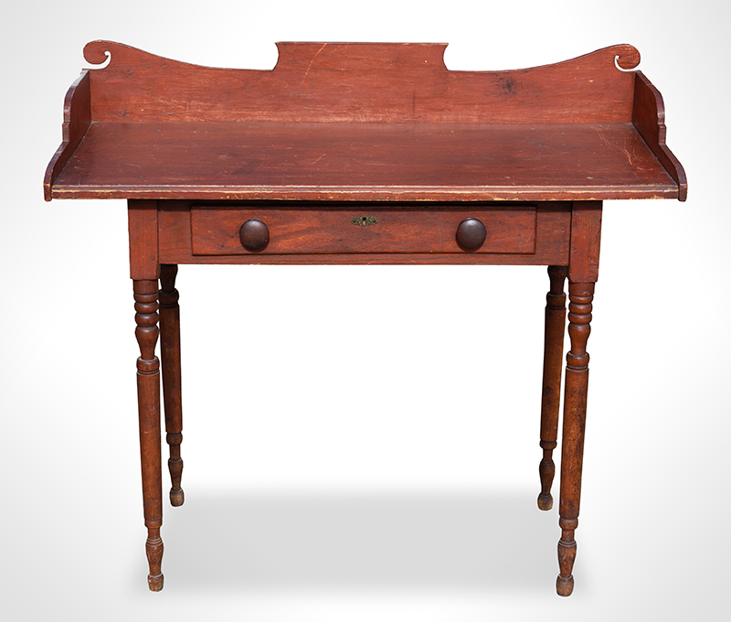 19th Century Server, Country Table, Original Paint  New England, likely Vermont, circa 1825-1840 Maple, basswood, and white pine, entire view 3