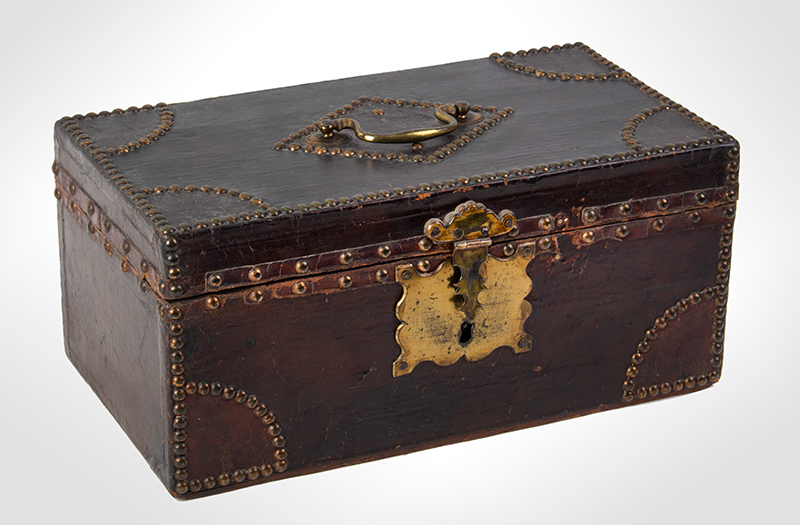 Antique, Trunk, Hide Covered, Brass Tack Ornamentation, Historic Anonymous, circa 1800, entire view 1