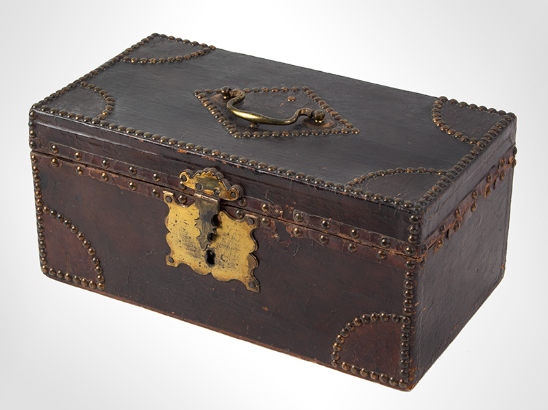 Antique, Trunk, Hide Covered, Brass Tack Ornamentation, Historic Anonymous, circa 1800, entire view 2