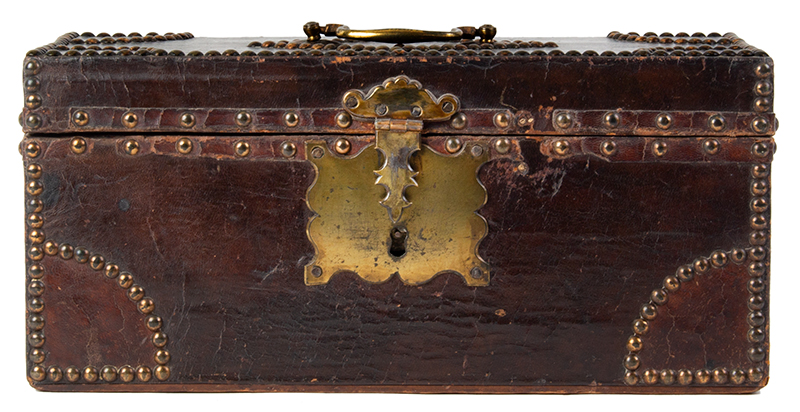 Antique, Trunk, Hide Covered, Brass Tack Ornamentation, Historic Anonymous, circa 1800, entire view 3