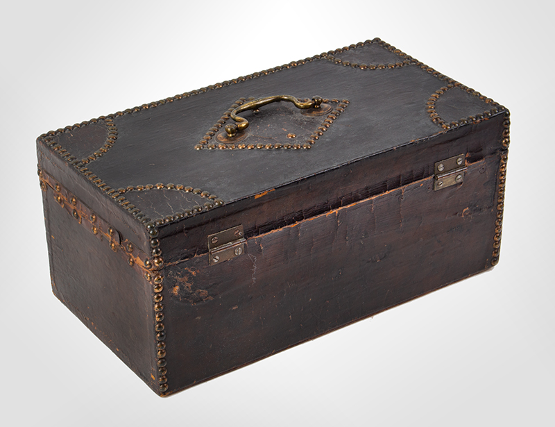 Antique, Trunk, Hide Covered, Brass Tack Ornamentation, Historic Anonymous, circa 1800, entire view 4