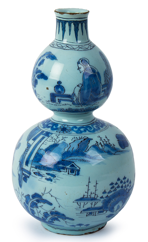 Delft Gourd-shaped Bottle, Asian Style Double Gourd Vase Circa 1740 Decorated in the Transitional Ming Style, Likely Martinus Gouda, Romeyn Factory, entire view 1