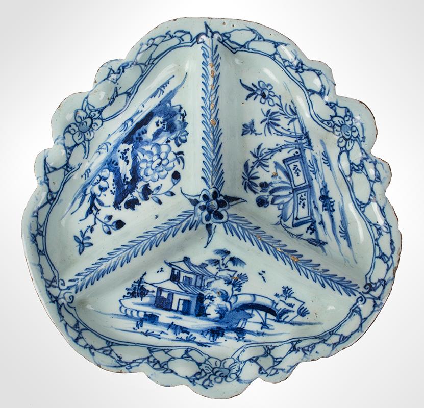 18th Century English Delft, Sweetmeats - Spice Dish – Pickle Dish Bristol, circa 1740, entire view 1
