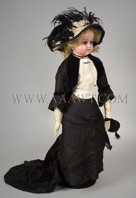 Antique Doll, Lady Doll, Wax over Compo, 19th Century, angle view