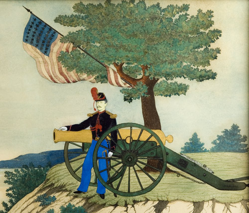 Watercolor, Civil War Union Artillery Soldier at Cannon,
