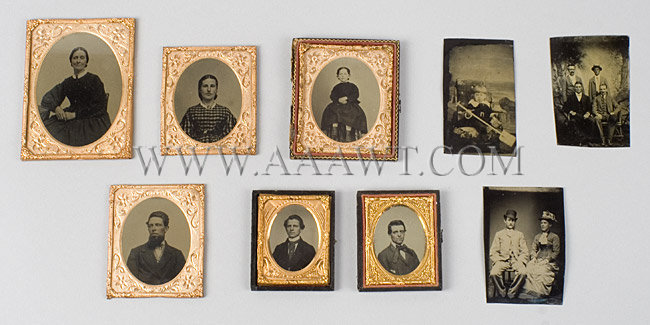 Lot of Nine Tintypes, entire view