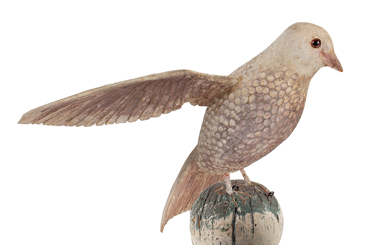 Antique Carved and Painted Spread Wing Dove, Folk Art Bird in Dry White Paint Anonymous, Late 19th Century, bird detail 5