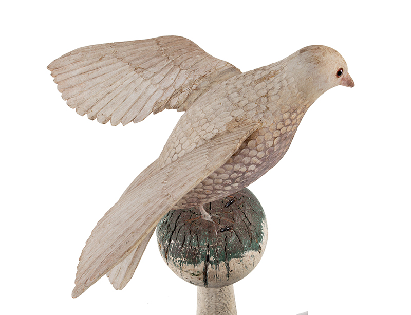 Antique Carved and Painted Spread Wing Dove, Folk Art Bird in Dry White Paint Anonymous, Late 19th Century, bird detail 4