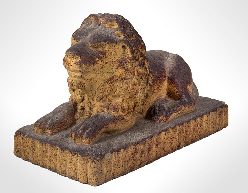 Antique Cast Sandstone Recumbent Lion on Fluted base Anonymous, entire view 1