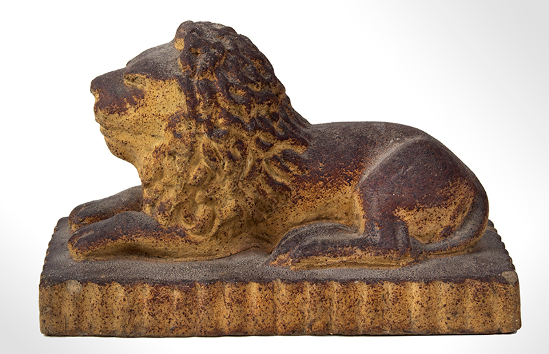 Antique Cast Sandstone Recumbent Lion on Fluted base Anonymous, entire view 2