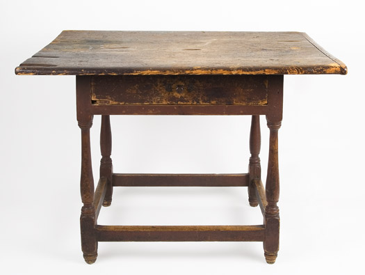 Antique Tavern Table, Original Red Paint, New England, Circa 1750-1760 Pine top and apron, maple legs This is one of those scarce pieces that survived without alteration, entire view 1