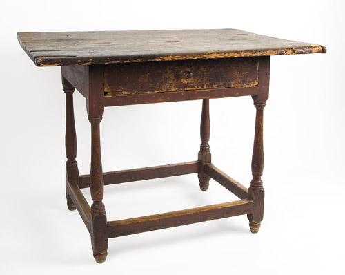 Antique Tavern Table, Original Red Paint, New England, Circa 1750-1760 Pine top and apron, maple legs This is one of those scarce pieces that survived without alteration, entire view 2