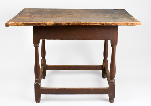 Antique Tavern Table, Original Red Paint, New England, Circa 1750-1760 Pine top and apron, maple legs This is one of those scarce pieces that survived without alteration, entire view 3