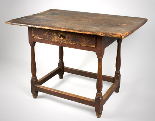 Antique Tavern Table, Original Red Paint, New England, Circa 1750-1760 Pine top and apron, maple legs This is one of those scarce pieces that survived without alteration, entire view 4