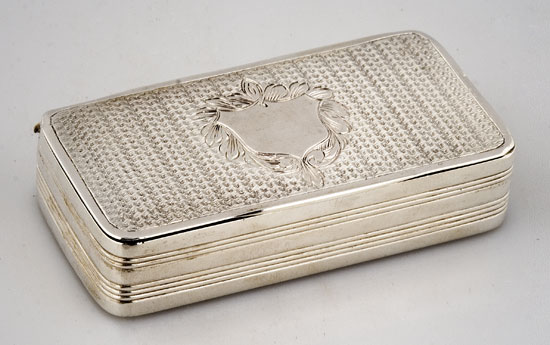 Coin Silver Rectangular Snuff Box, 