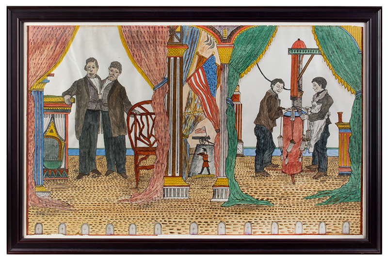 Folk Art Watercolor, The Side Show, Siamese Twins by the Utica Master Lawrence Ladd, Utica, New York, Late 19th Century Museum exhibit title cards on verso, watercolor on paper, entire view